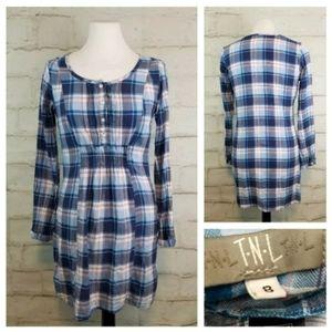 TNL S Blue Pink White Plaid Long Sleeve Mini Dress